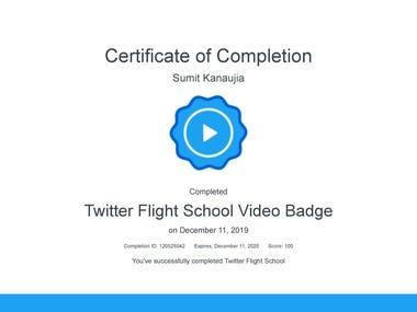 Twitter Flight School Video Badge