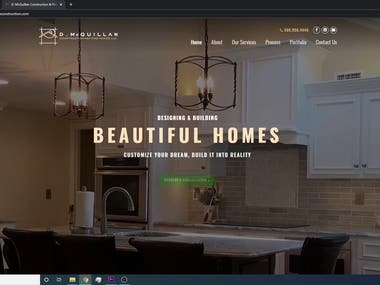 Website for D. Mcquillan Construction and Fine Homes LLC