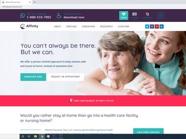 Website for Affinity Personal Care, LLC