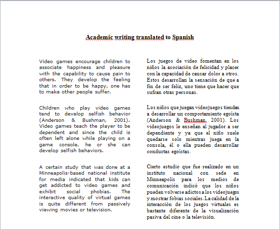 English Academic Writing And Spanish Translation Sample Freelancer