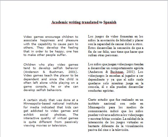English Academic Writing And Spanish Translation Sample Freelancer
