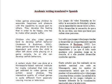 English academic writing and Spanish translation (Sample)