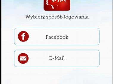 Social Network Application login screen