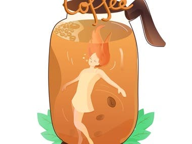 coffee girl illustration