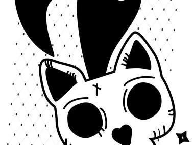 spooky cat skull