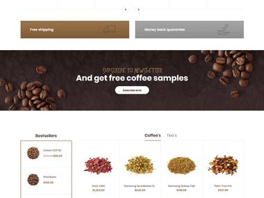 shopify store for Coffee Tea