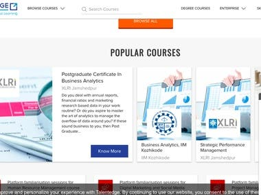 Company website for selling and managing online courses