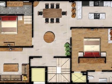 2D floor plan/ site plan rendering