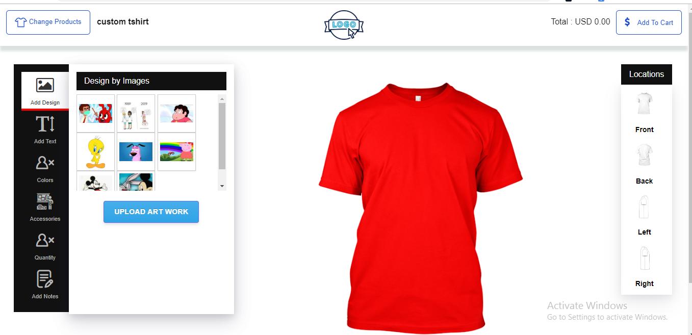 Shopify Custom T shirt Designer