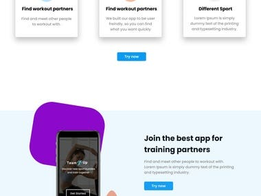 Fitness App landing page