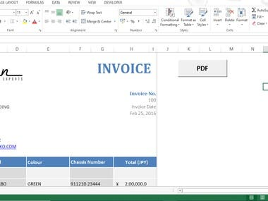 Excel Professional Invoice Design and Generate PDF