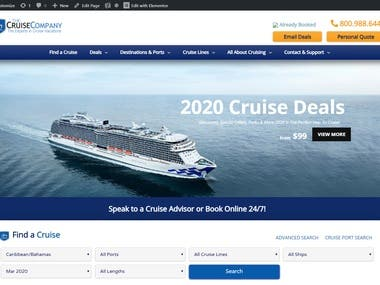 www.thecruiseco.com RedesignWebsite using Elementor Plugin