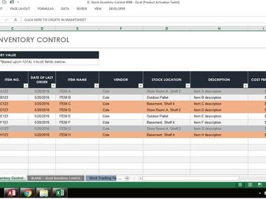 STOCK CONTROL MS EXCEL
