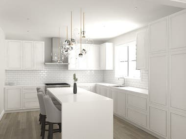 3D Interior Rendering of a Kitchen