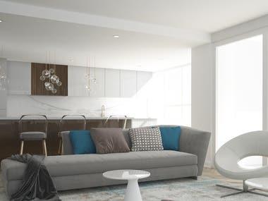 Living Room 3D Rendering