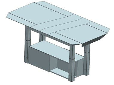 Multi function coffee table (coffee, workstation, dinning)