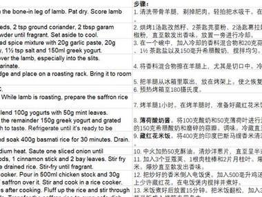 recipe English to Chinese translation