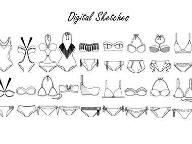 Digital Sketches / Swimwear