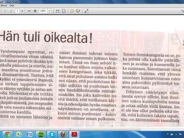 Sample of my column in Finnish
