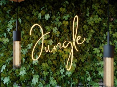 Green wall for jungle cafe