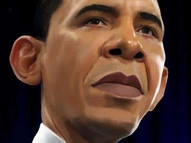 Obama portrait-caricature