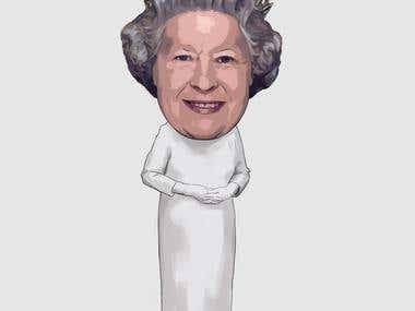 A caricature of Queen Elizabeth