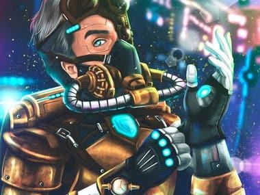 Cyberpunk character warrior.