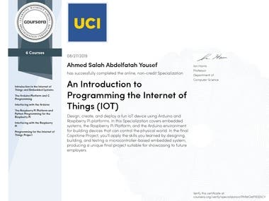 Internet of things specialization certificate