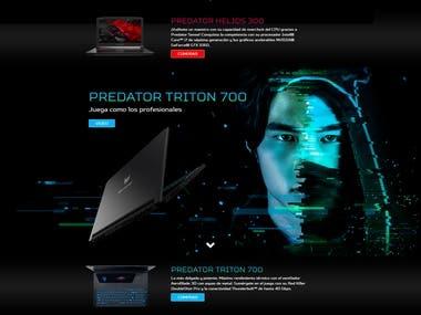 Diseño/desarrollo de página web para Acer