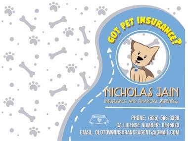 Pet insurance business card