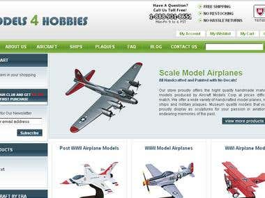 Models4Hobbies Ecommerce website to sell model Airplanes
