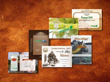 Diplomas, commendations, certificates, packaging, labels