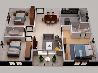 3D House Floor Plane