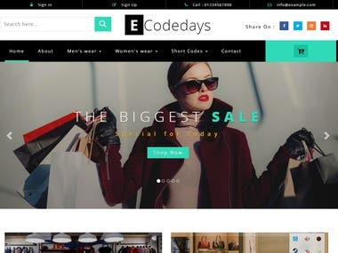 Ecommerce Website for Shoping / Startup Business