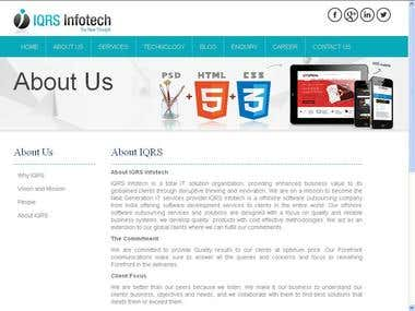 IQRS Infotech website built in ASP.NET C#