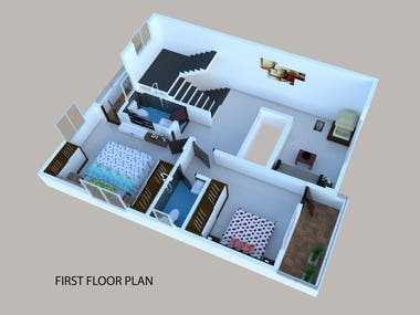 Colored 2D & 3D Floor Plan