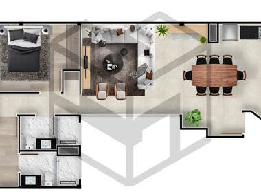 Colorful humanized floor plan