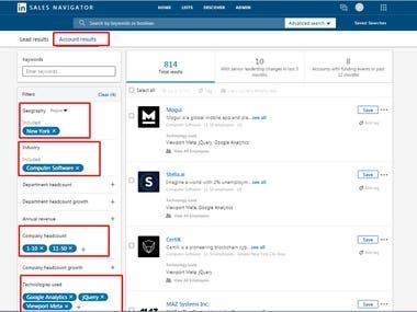 Find Company by LinkedIn Sales Navigator