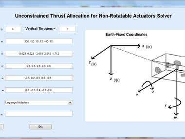 Matlab GUI for Optimal Thrust Allocation