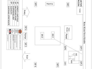 autoCAD DRAWING of earthing and cable layout of petrol pump