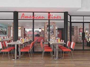 "Visualization of ""American Diner"" cafe, Denmark"