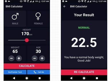 BMI Calculator Android and iOS Mobil