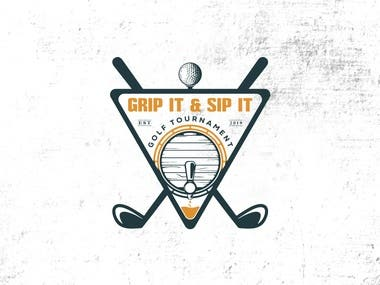"I need a logo designed for the ""Grip It & Sip It Golf Tourn:"