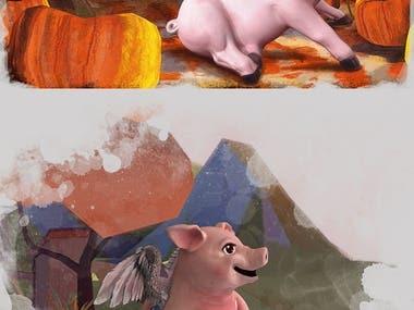 pig children illustration design example