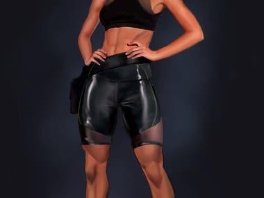 Concept Art Female Costume Design for Sci Fi Videogame