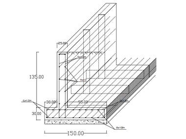 Structural design and drawings of RC retaining wall