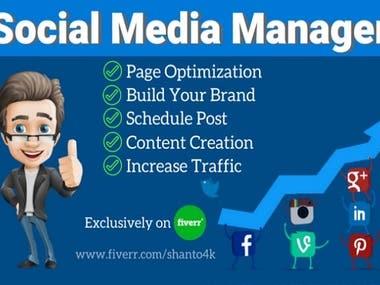I will be your social media manager,social media marketing