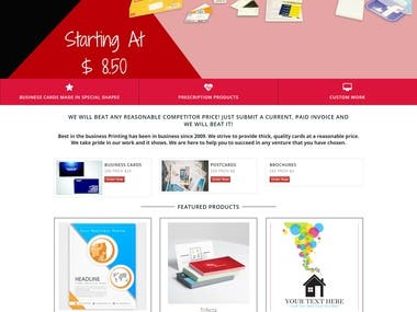 Website for a printing company