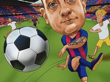 soccer player friendship caricature