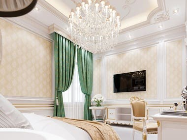 The style of the classic bedroom interior